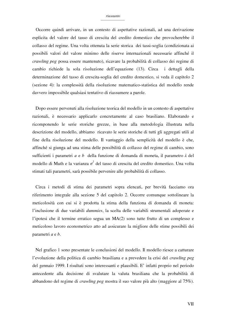 Anteprima della tesi: Un modello per l'analisi delle crisi in un currency peg: il caso brasiliano, Pagina 5