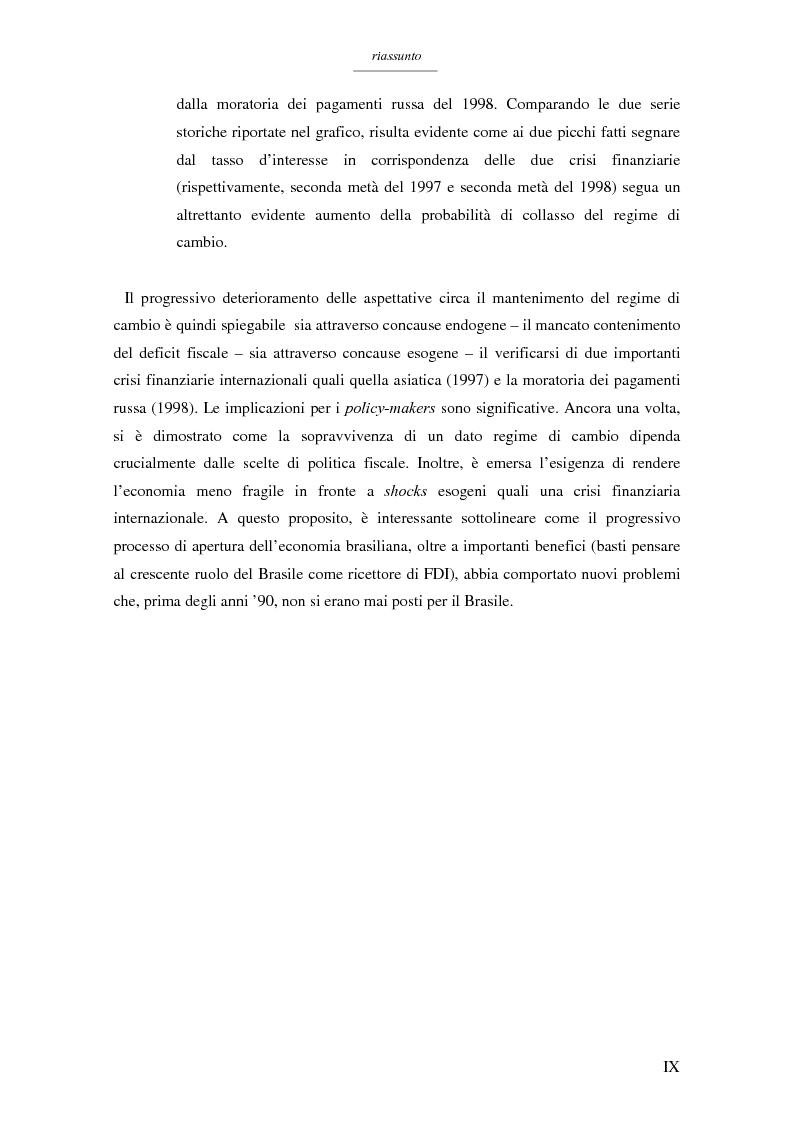 Anteprima della tesi: Un modello per l'analisi delle crisi in un currency peg: il caso brasiliano, Pagina 7