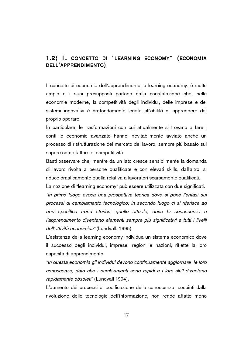 Anteprima della tesi: Economia dell'apprendimento e socializzazione al lavoro: un caso di deindustrializzazione, Pagina 14