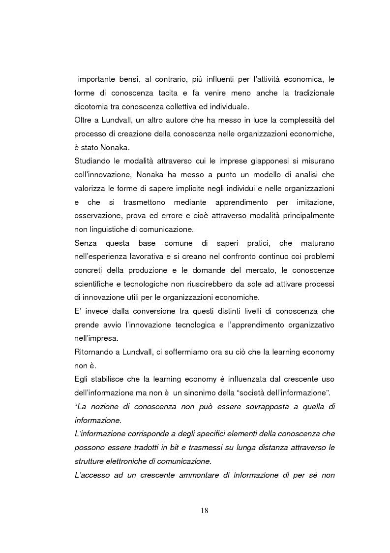 Anteprima della tesi: Economia dell'apprendimento e socializzazione al lavoro: un caso di deindustrializzazione, Pagina 15