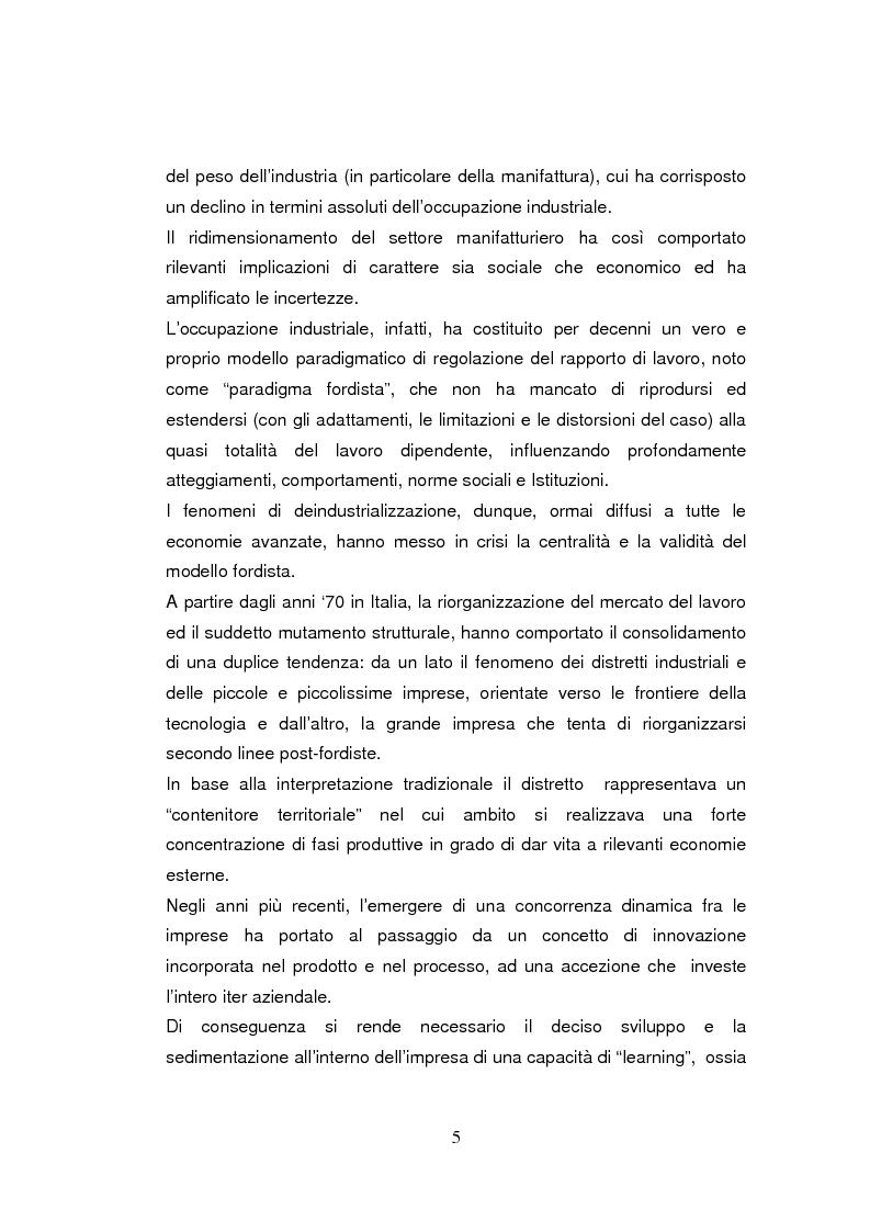 Anteprima della tesi: Economia dell'apprendimento e socializzazione al lavoro: un caso di deindustrializzazione, Pagina 2