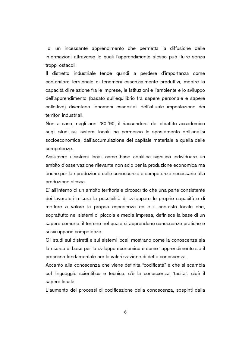 Anteprima della tesi: Economia dell'apprendimento e socializzazione al lavoro: un caso di deindustrializzazione, Pagina 3