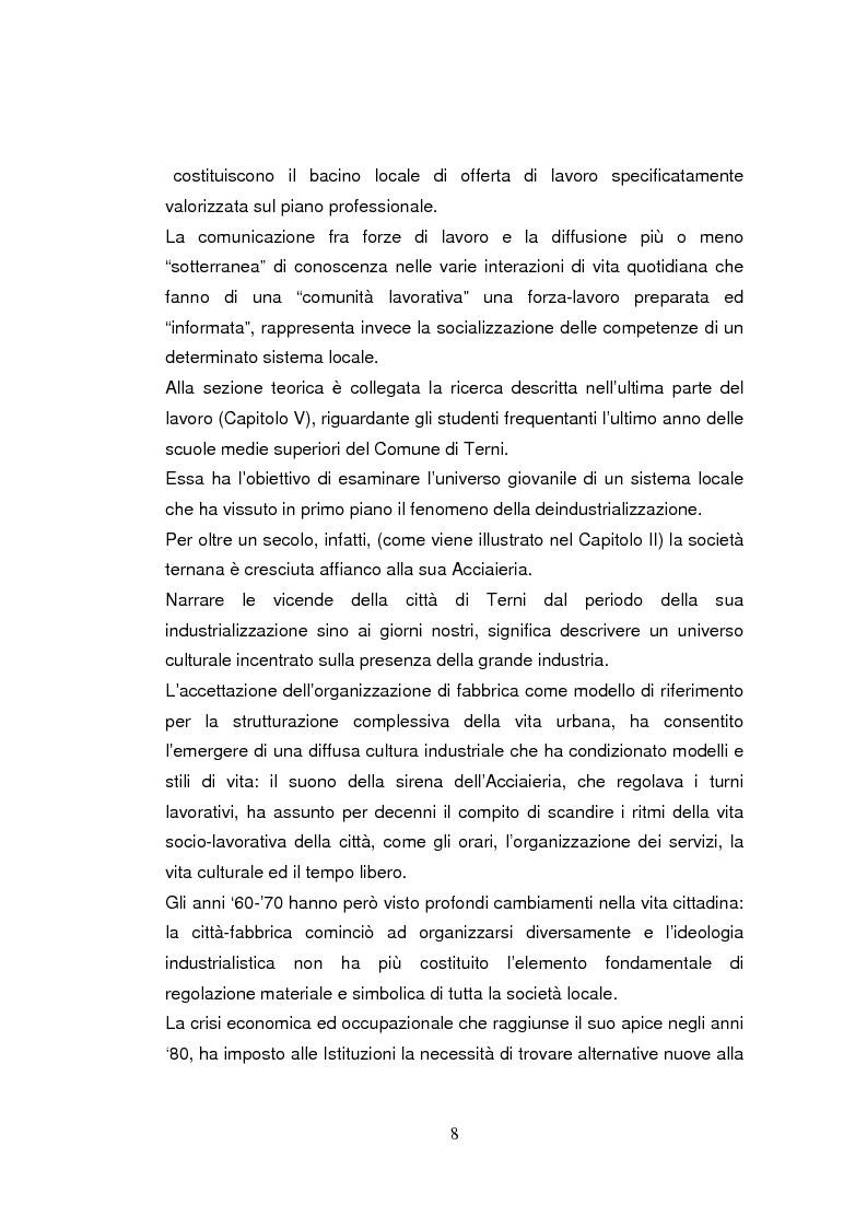 Anteprima della tesi: Economia dell'apprendimento e socializzazione al lavoro: un caso di deindustrializzazione, Pagina 5