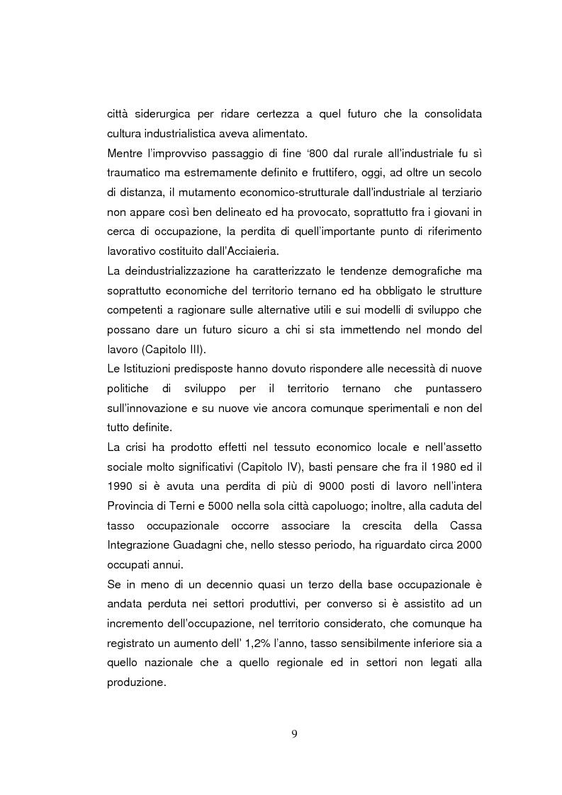 Anteprima della tesi: Economia dell'apprendimento e socializzazione al lavoro: un caso di deindustrializzazione, Pagina 6