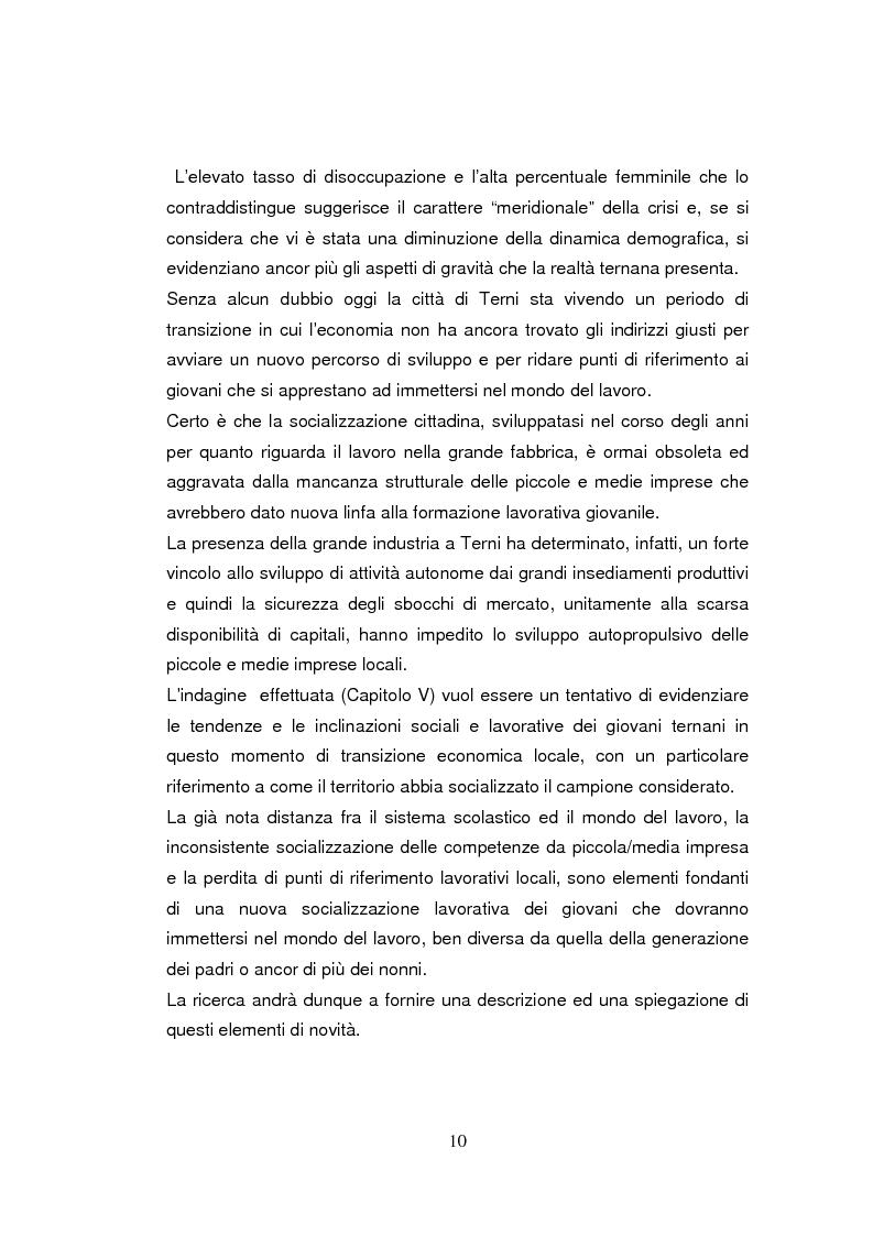Anteprima della tesi: Economia dell'apprendimento e socializzazione al lavoro: un caso di deindustrializzazione, Pagina 7