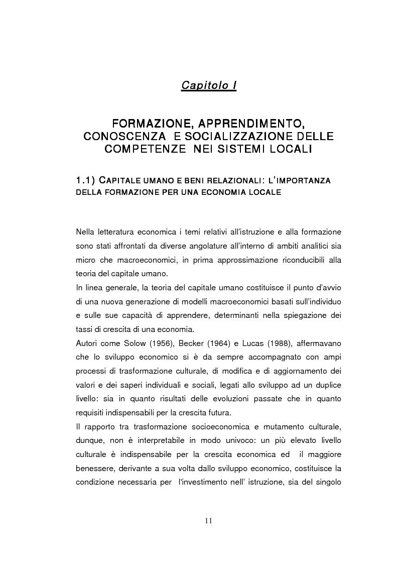 Anteprima della tesi: Economia dell'apprendimento e socializzazione al lavoro: un caso di deindustrializzazione, Pagina 8