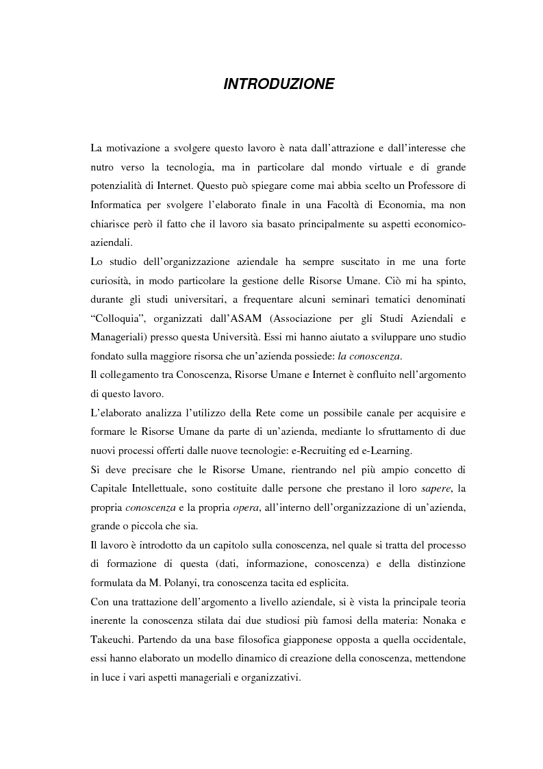 Anteprima della tesi: La selezione e la formazione on-line come supporto alla gestione del capitale intellettuale, Pagina 1