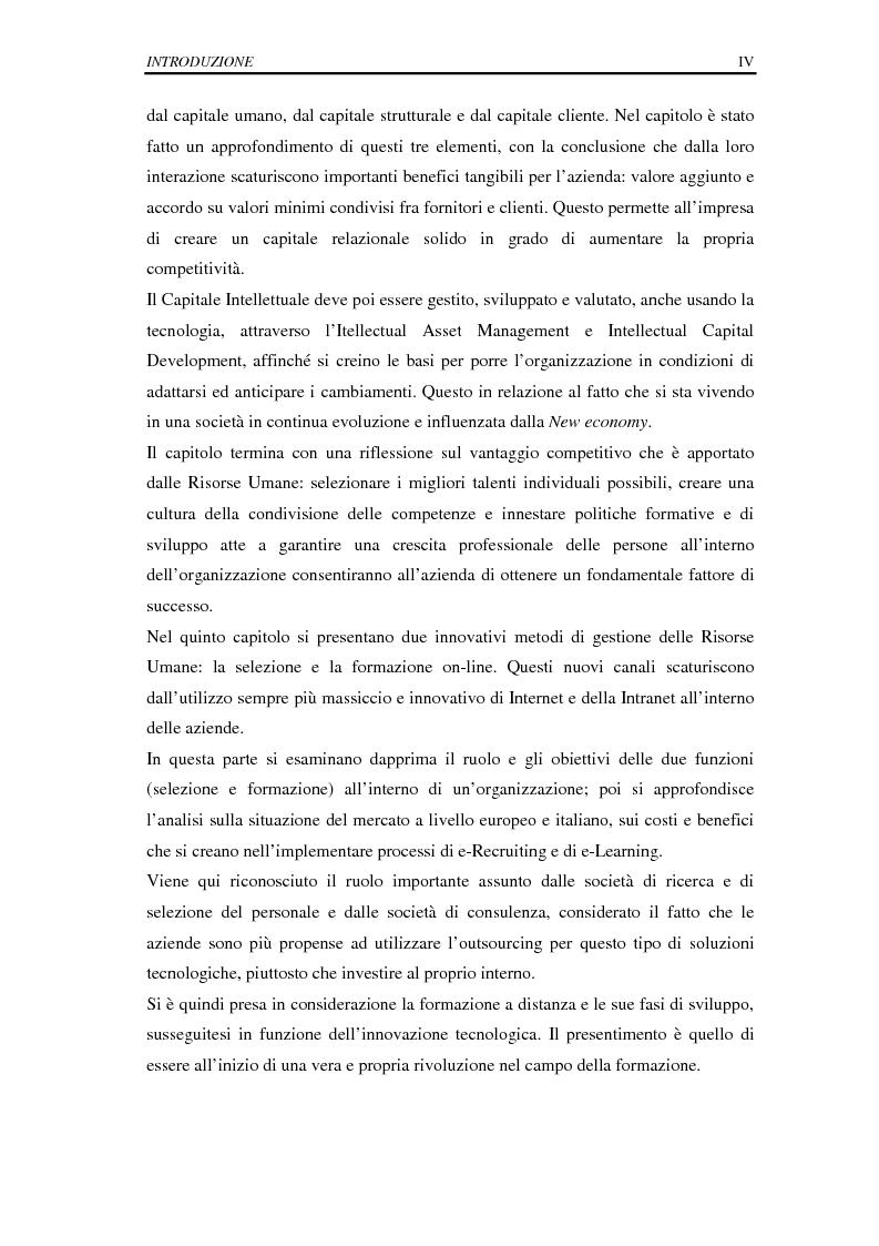 Anteprima della tesi: La selezione e la formazione on-line come supporto alla gestione del capitale intellettuale, Pagina 4