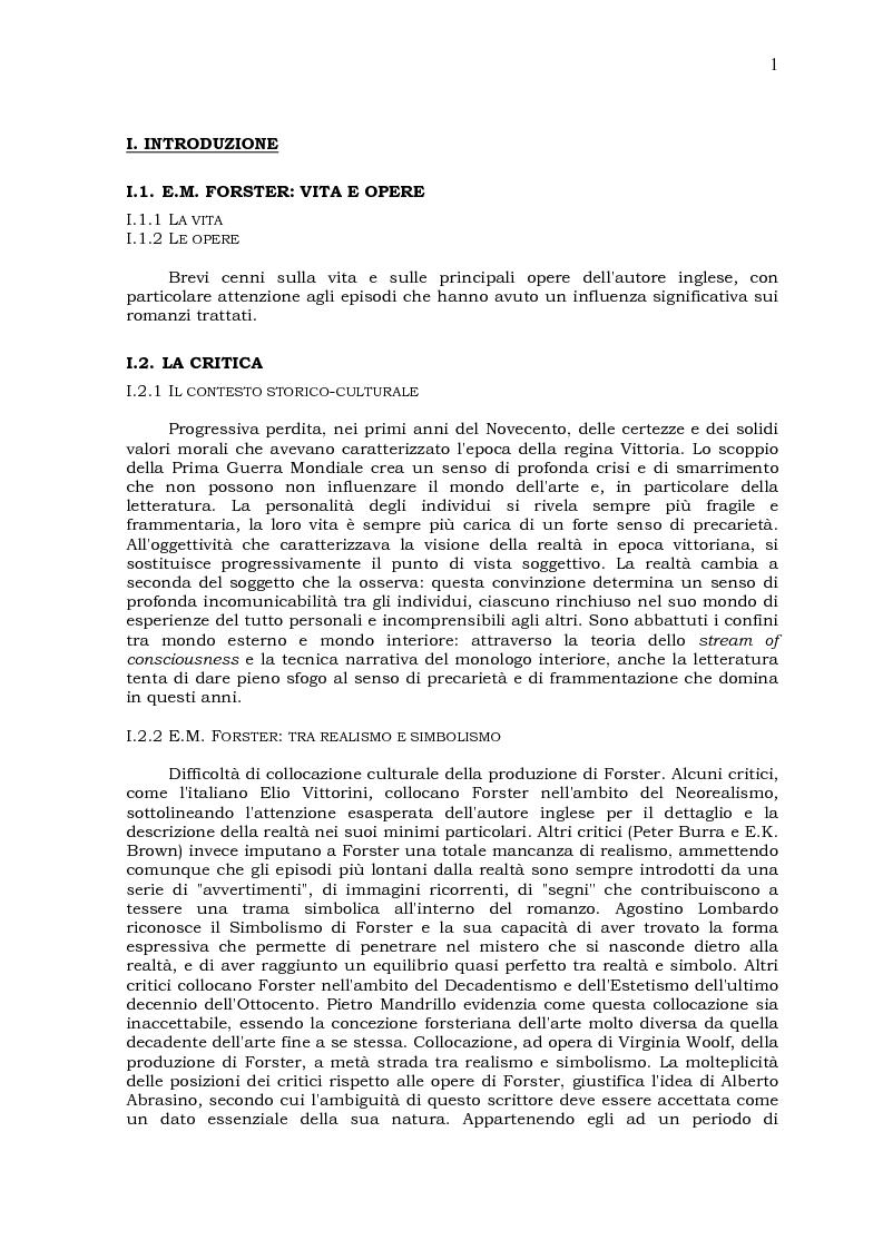 Anteprima della tesi: Il viaggio come ricerca del Sè: due romanzi di E.M. Forster, Pagina 1