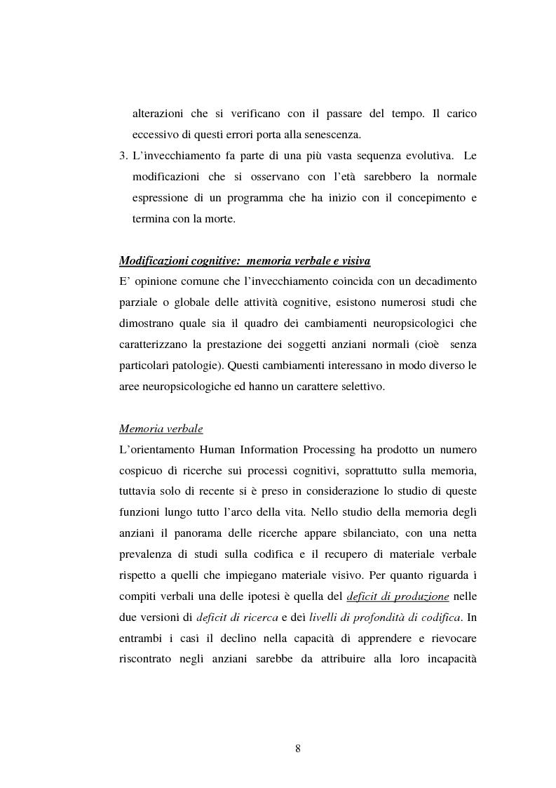 Anteprima della tesi: Processi di memoria e immaginazione in soggetti anziani, Pagina 4