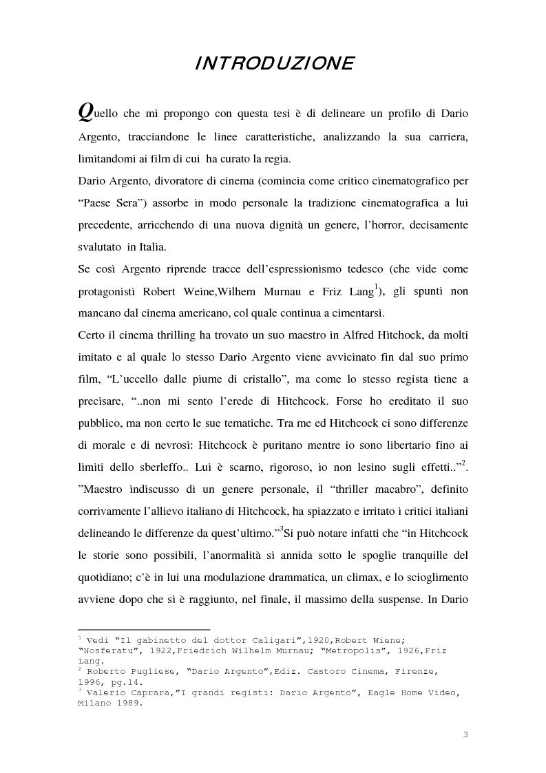 Anteprima della tesi: I film di Dario Argento, Pagina 1