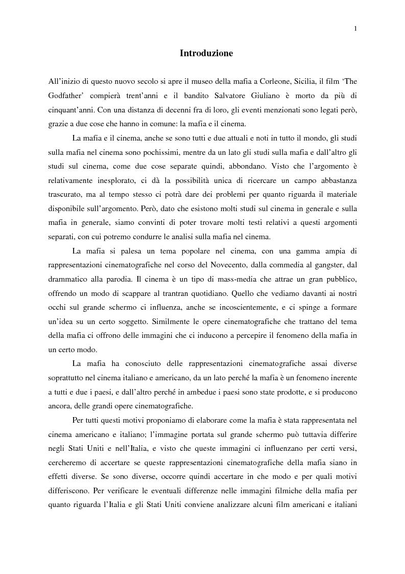 Anteprima della tesi: Indagine sull'immagine cinematografica della mafia, Pagina 1