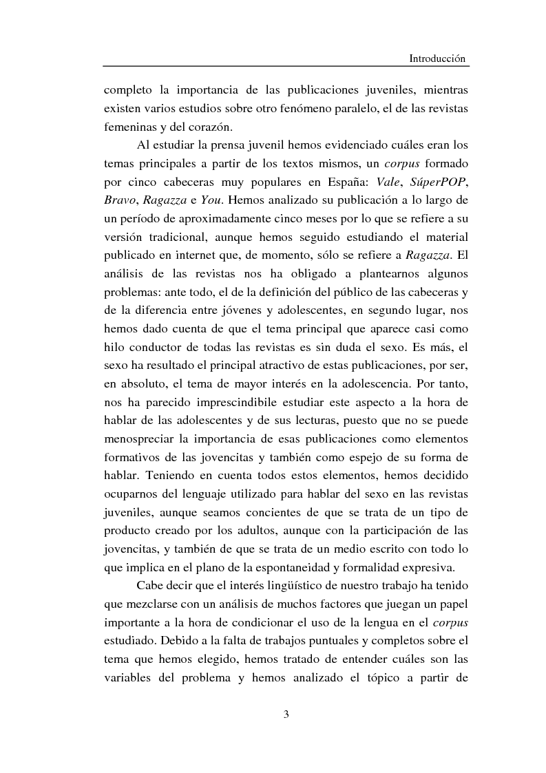 Anteprima della tesi: Cómo se habla de sexo en las revistas españolas para adolescentes, Pagina 3
