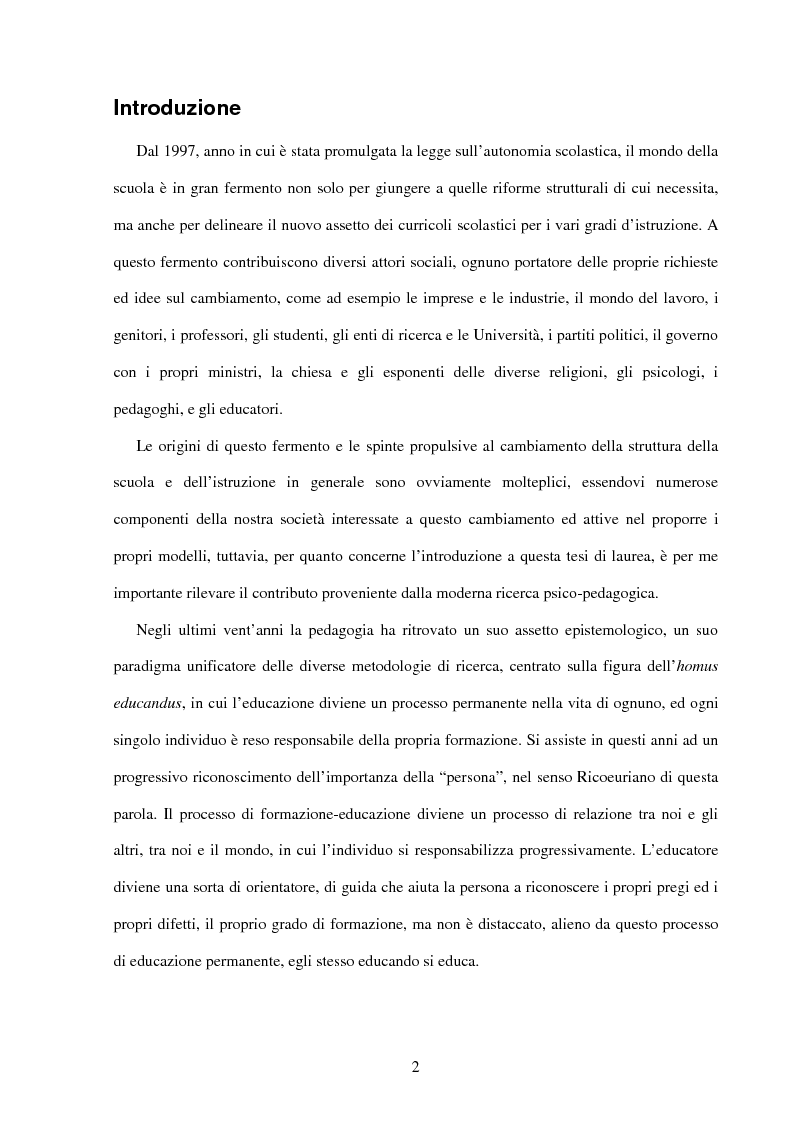 Anteprima della tesi: Il ruolo dell'insegnamento nella modificazione delle rappresentazioni mentali difformi. Un'esperienza di didattica dell'astronomia e della fisica per la scuola dell'obbligo., Pagina 1