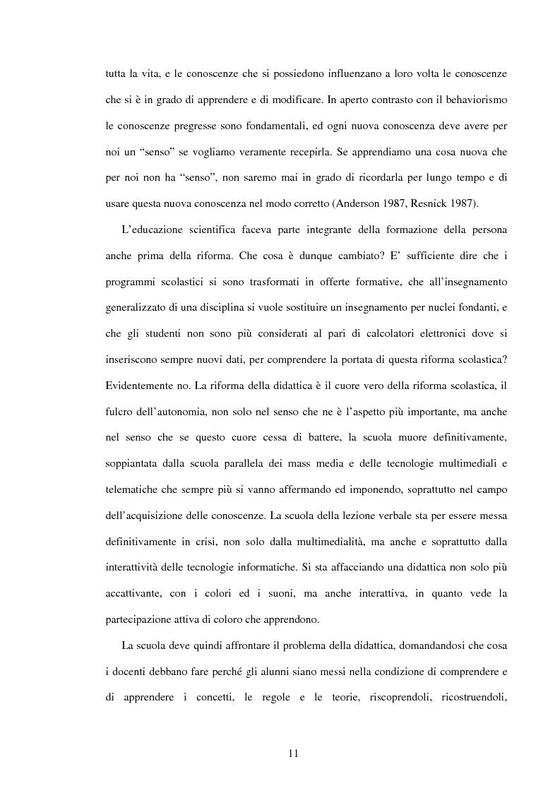 Anteprima della tesi: Il ruolo dell'insegnamento nella modificazione delle rappresentazioni mentali difformi. Un'esperienza di didattica dell'astronomia e della fisica per la scuola dell'obbligo., Pagina 10