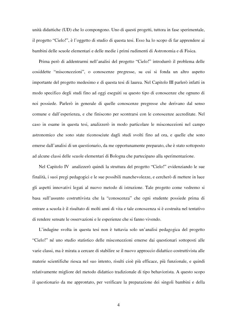 Anteprima della tesi: Il ruolo dell'insegnamento nella modificazione delle rappresentazioni mentali difformi. Un'esperienza di didattica dell'astronomia e della fisica per la scuola dell'obbligo., Pagina 3