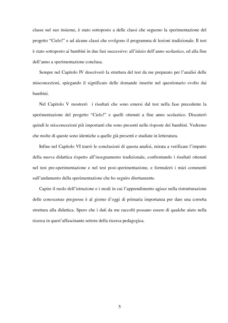 Anteprima della tesi: Il ruolo dell'insegnamento nella modificazione delle rappresentazioni mentali difformi. Un'esperienza di didattica dell'astronomia e della fisica per la scuola dell'obbligo., Pagina 4