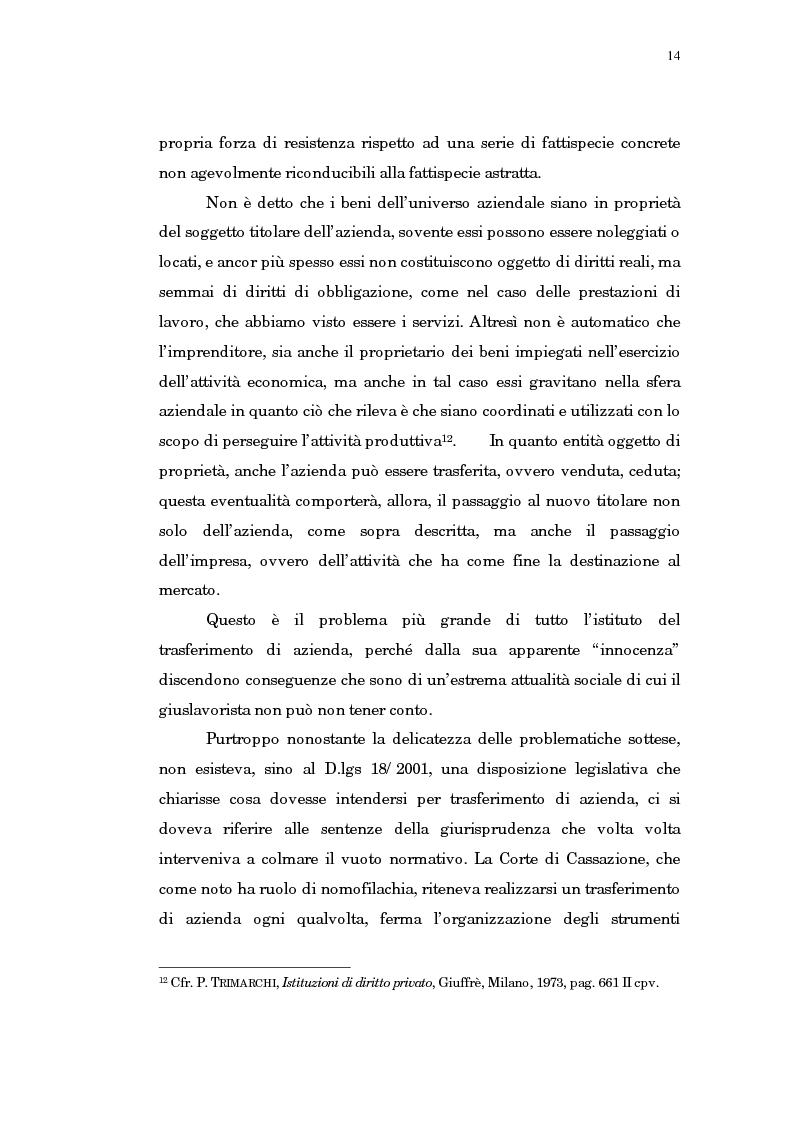 Anteprima della tesi: Il trasferimento di azienda, Pagina 10