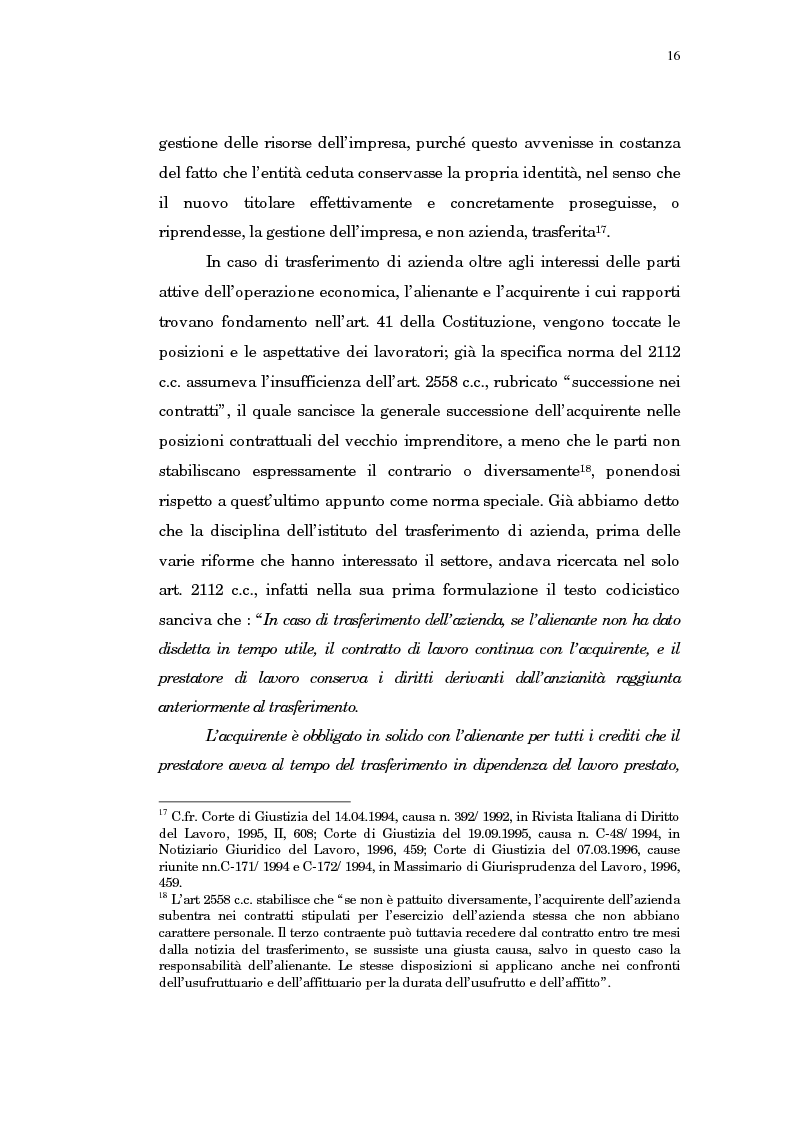 Anteprima della tesi: Il trasferimento di azienda, Pagina 12