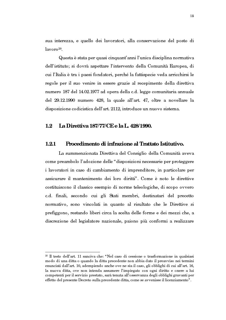 Anteprima della tesi: Il trasferimento di azienda, Pagina 14