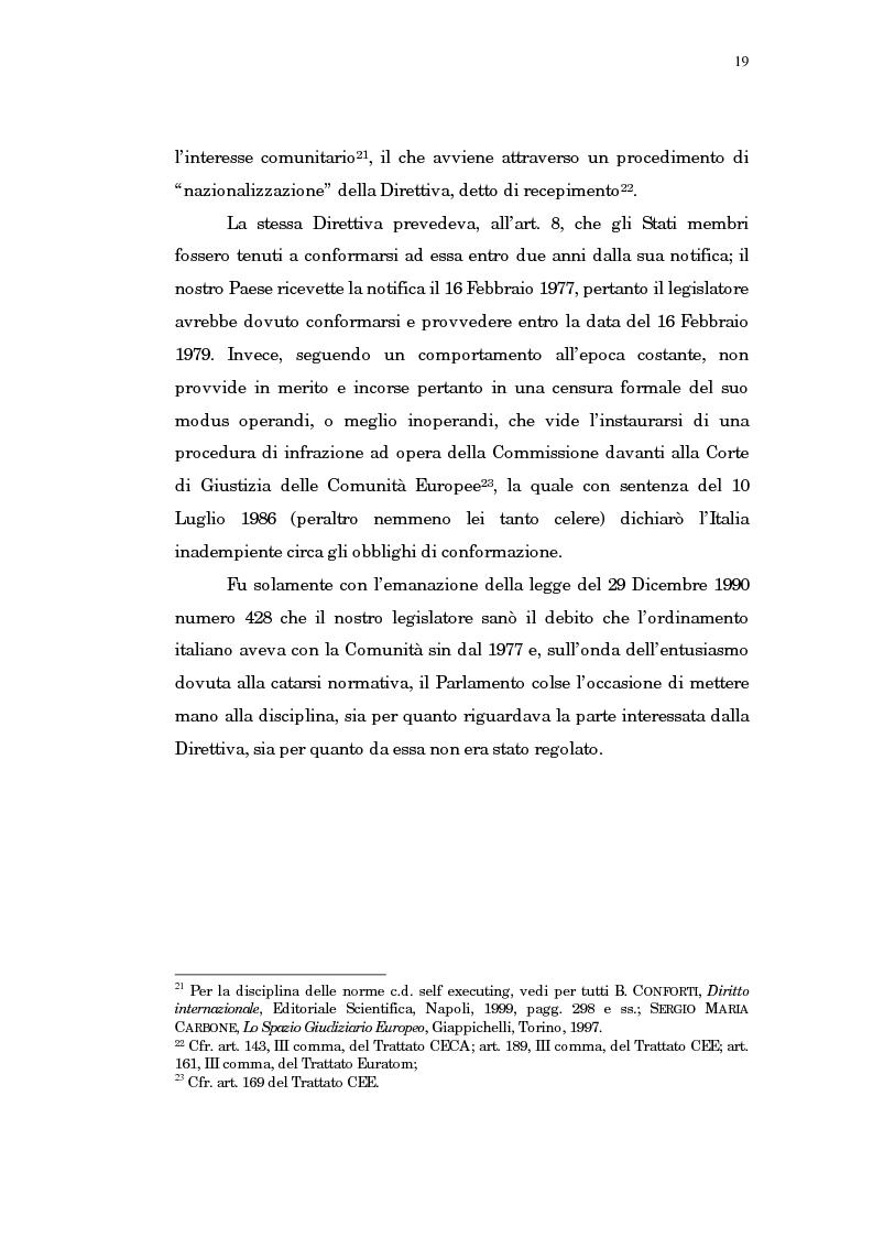 Anteprima della tesi: Il trasferimento di azienda, Pagina 15