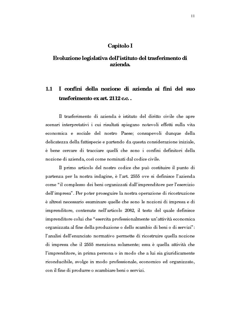 Anteprima della tesi: Il trasferimento di azienda, Pagina 7