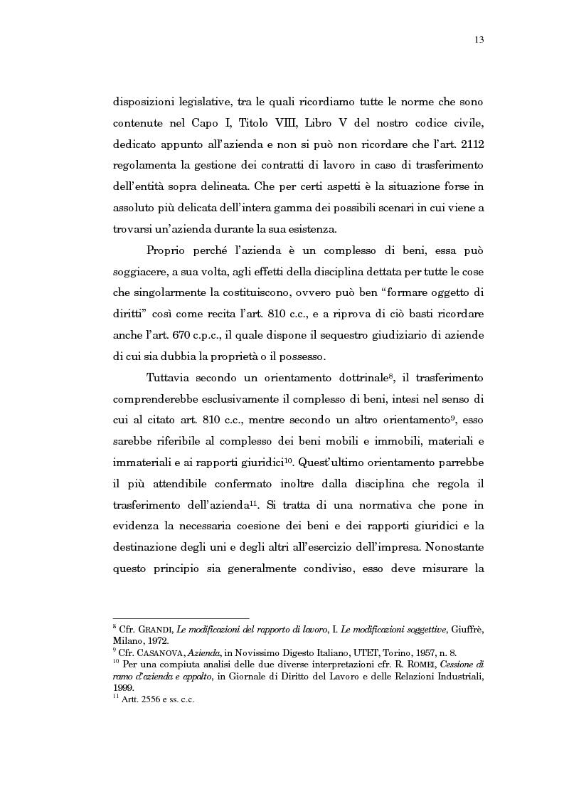 Anteprima della tesi: Il trasferimento di azienda, Pagina 9