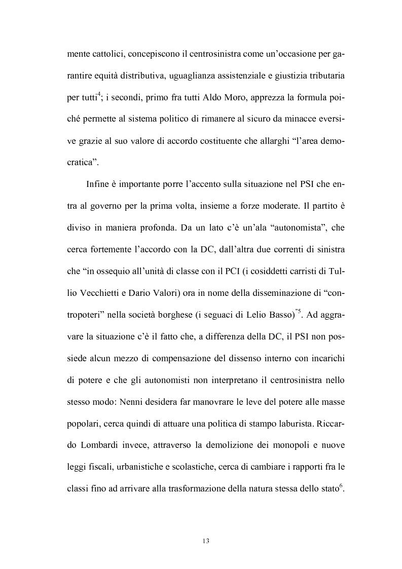 Anteprima della tesi: La politica interna del centrosinistra, Pagina 11