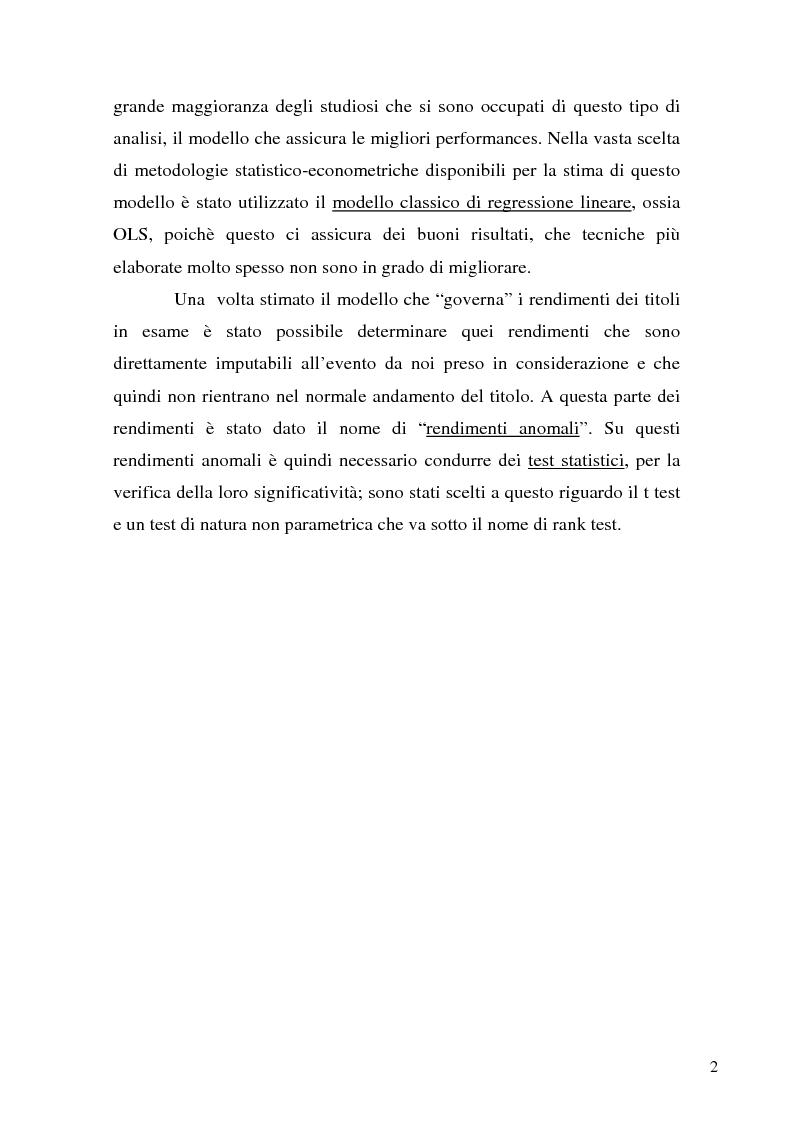 Anteprima della tesi: Event studies in finance, Pagina 2