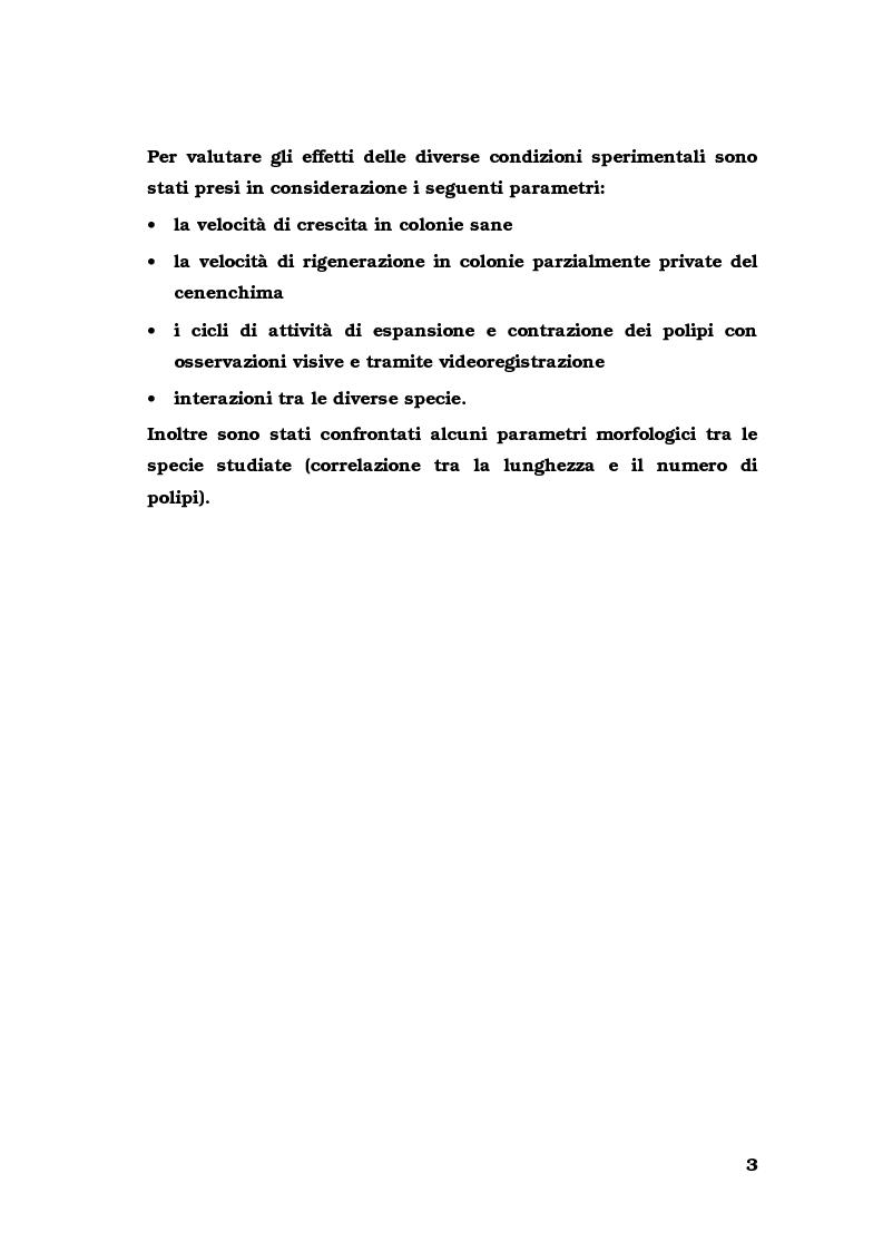 Anteprima della tesi: Biologia di alcuni Gorgonacei mediterranei in differenti condizioni sperimentali, Pagina 2