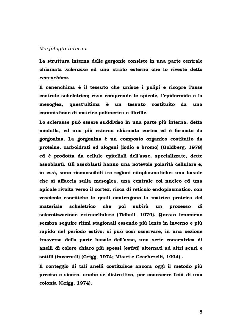 Anteprima della tesi: Biologia di alcuni Gorgonacei mediterranei in differenti condizioni sperimentali, Pagina 7