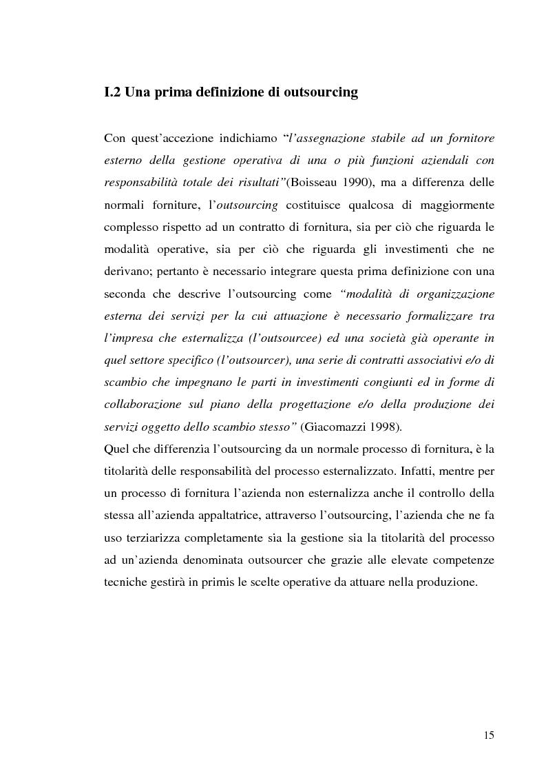 Anteprima della tesi: Il processo di outsourcing ed il modello ASP. Un'analisi del mercato assicurativo, Pagina 10