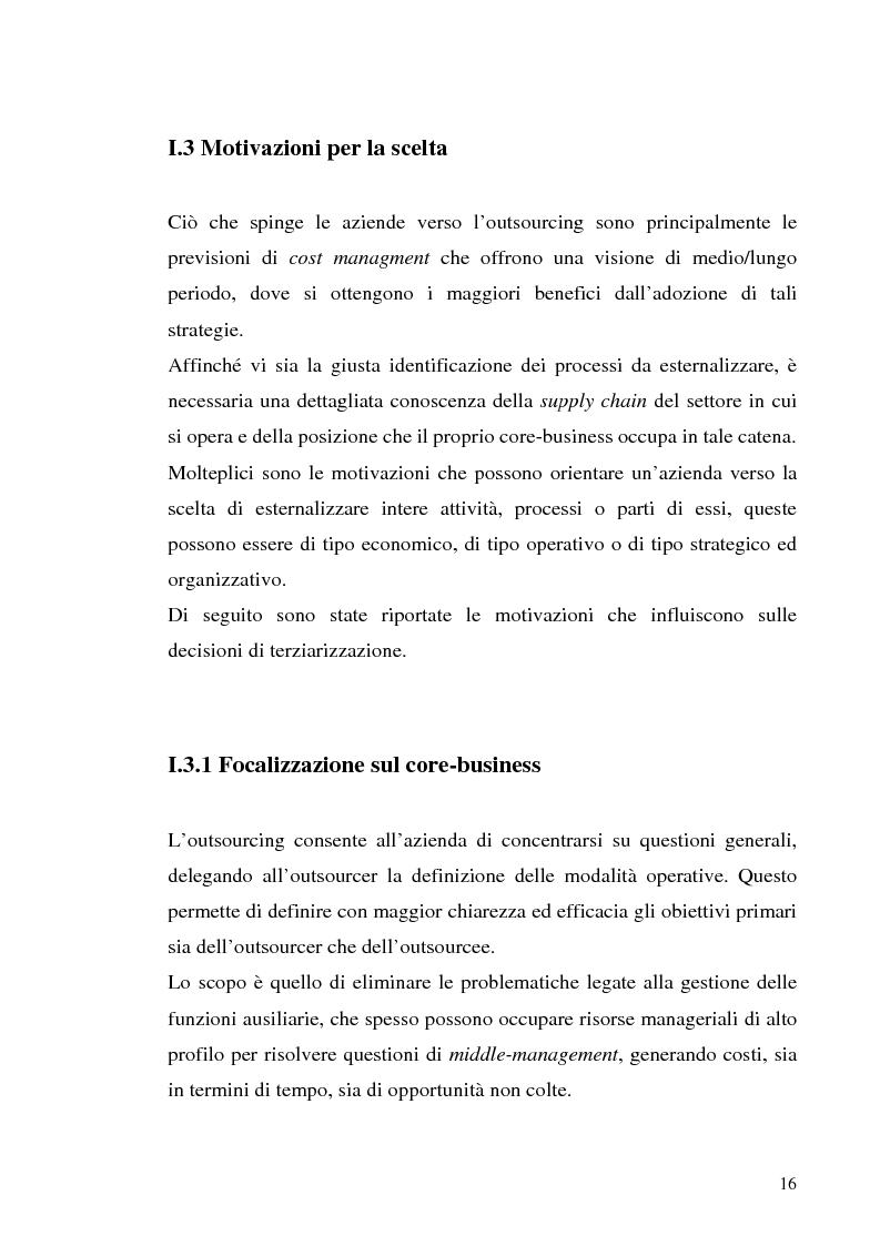 Anteprima della tesi: Il processo di outsourcing ed il modello ASP. Un'analisi del mercato assicurativo, Pagina 11