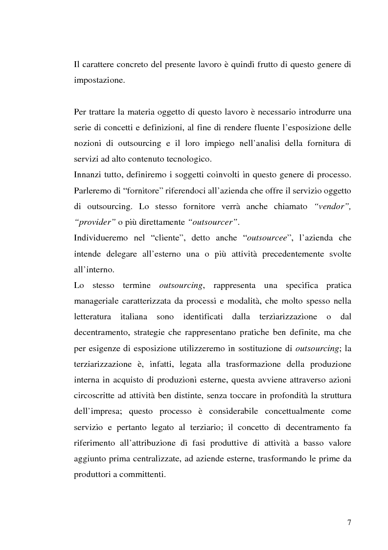 Anteprima della tesi: Il processo di outsourcing ed il modello ASP. Un'analisi del mercato assicurativo, Pagina 2