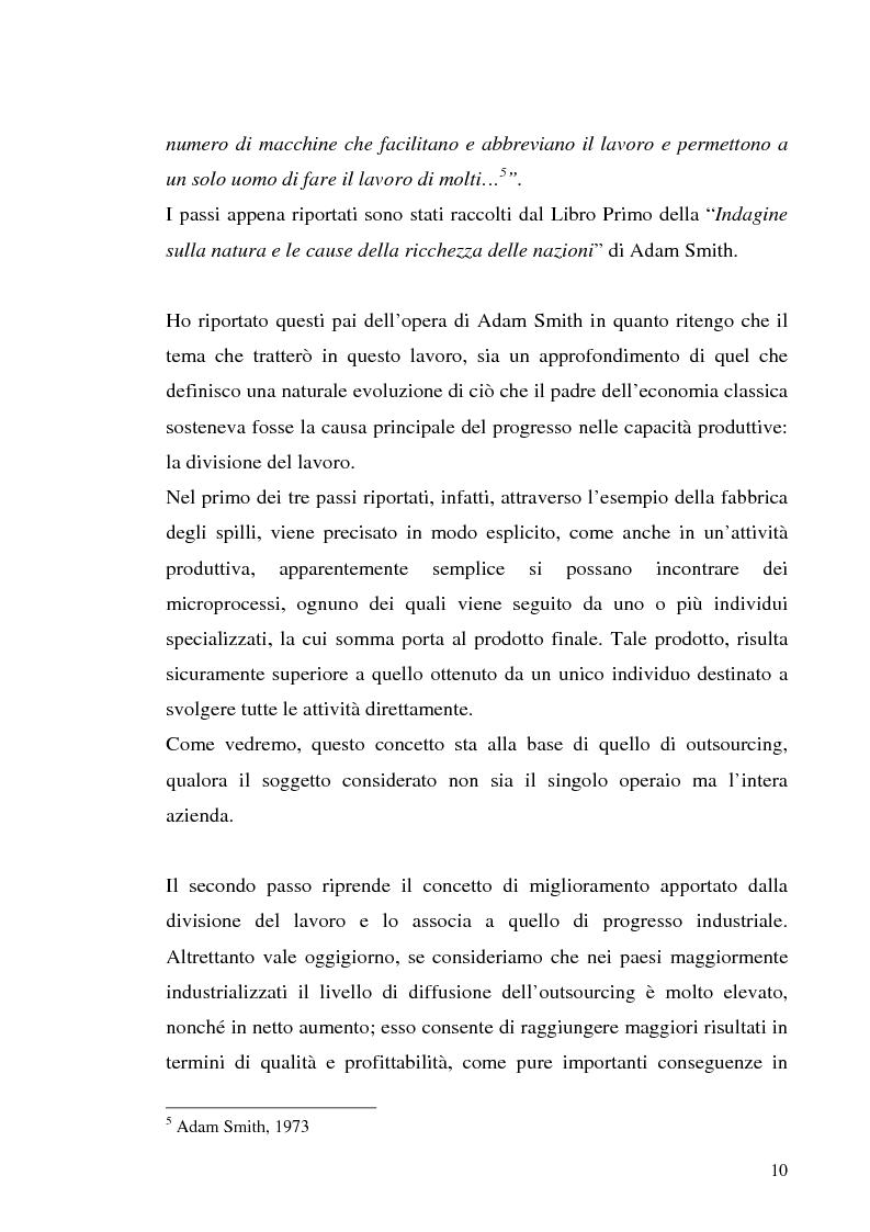 Anteprima della tesi: Il processo di outsourcing ed il modello ASP. Un'analisi del mercato assicurativo, Pagina 5