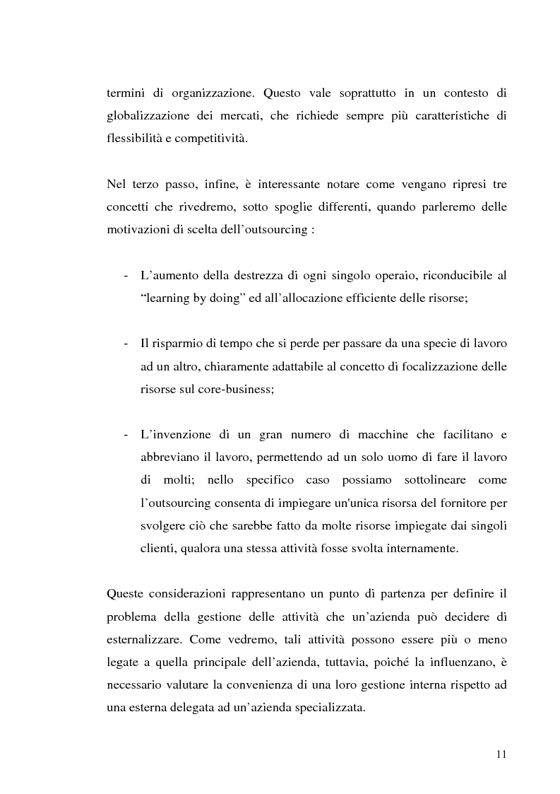 Anteprima della tesi: Il processo di outsourcing ed il modello ASP. Un'analisi del mercato assicurativo, Pagina 6