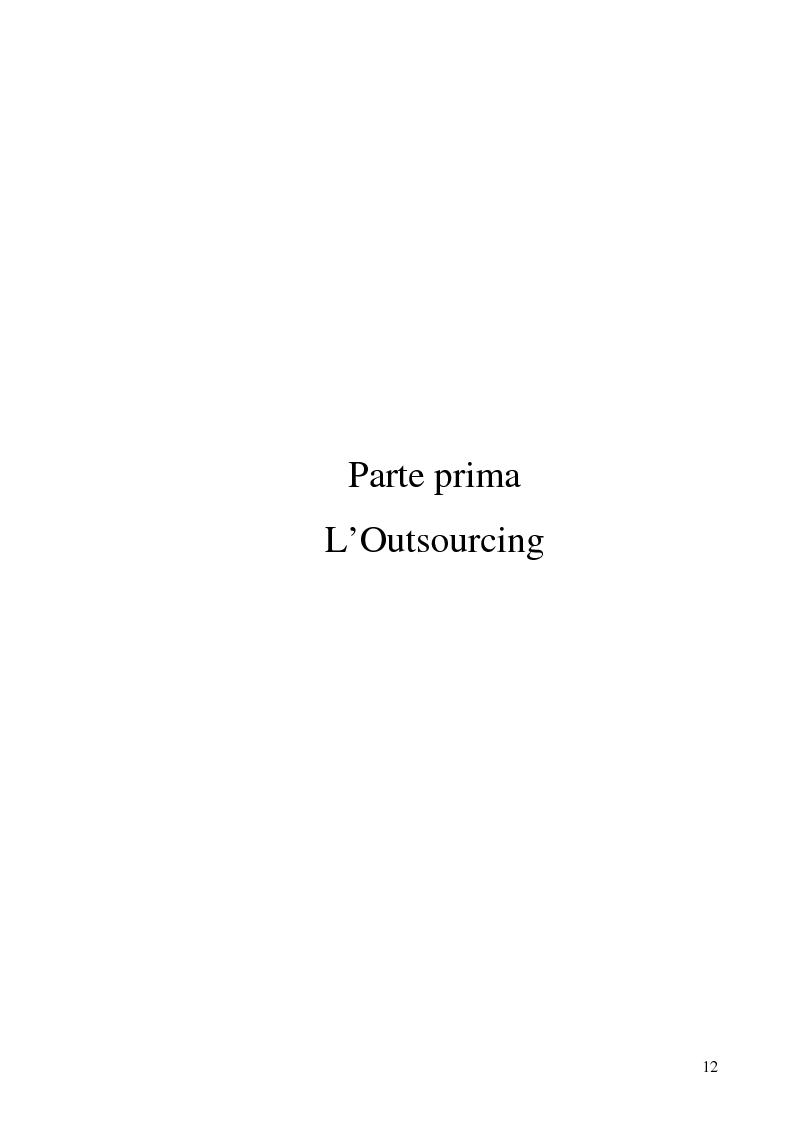 Anteprima della tesi: Il processo di outsourcing ed il modello ASP. Un'analisi del mercato assicurativo, Pagina 7