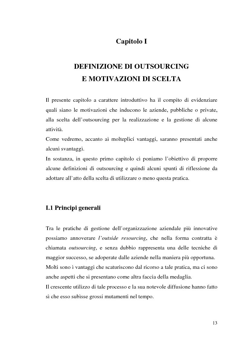Anteprima della tesi: Il processo di outsourcing ed il modello ASP. Un'analisi del mercato assicurativo, Pagina 8