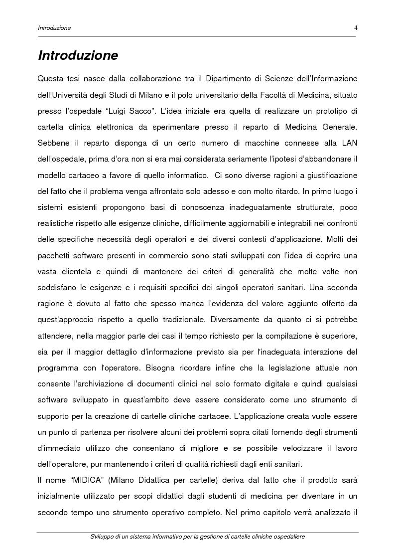 Anteprima della tesi: Sviluppo di un sistema informativo per la gestione di cartelle cliniche ospedaliere, Pagina 1