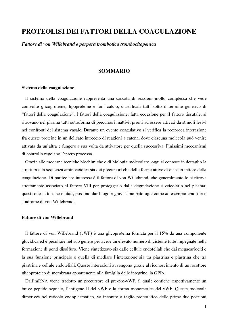 Anteprima della tesi: Proteolisi dei fattori della coagulazione, Pagina 1