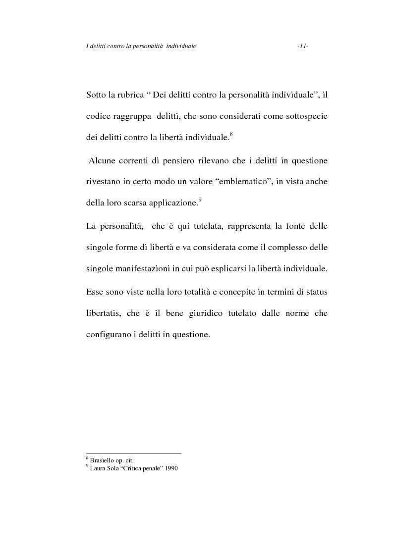 Anteprima della tesi: I delitti contro la personalità individuale, Pagina 11