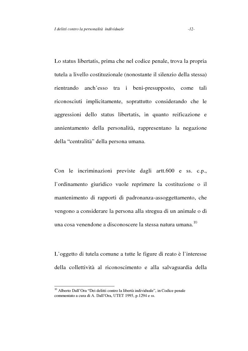 Anteprima della tesi: I delitti contro la personalità individuale, Pagina 12