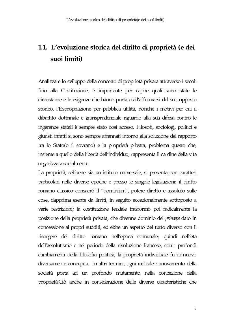 Anteprima della tesi: Il diritto di proprietà e il potere espropriativo dello Stato nella Costituzione e nel diritto vigente, Pagina 6