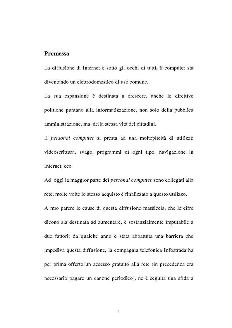 Anteprima della tesi: La compravendita in Internet, Pagina 1