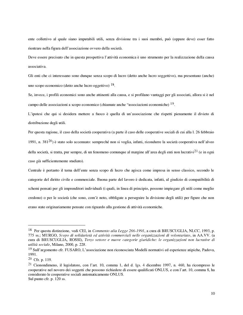 Anteprima della tesi: L'attività d'impresa degli enti senza scopo di lucro, Pagina 7