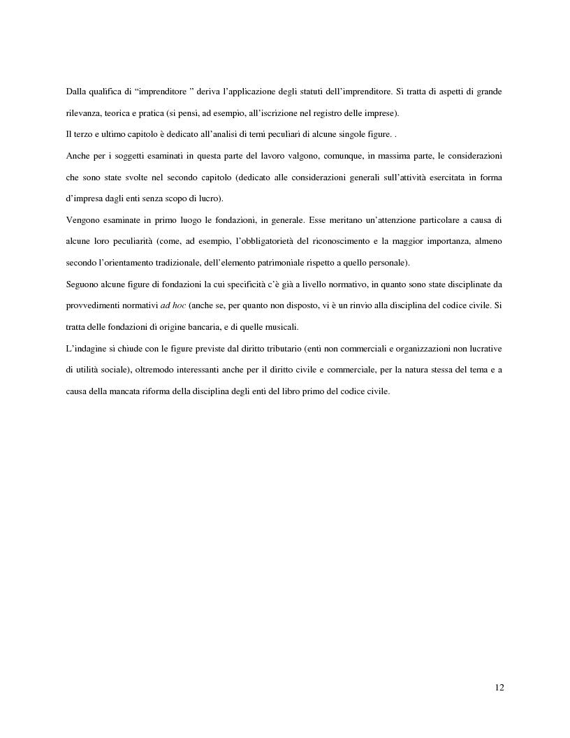 Anteprima della tesi: L'attività d'impresa degli enti senza scopo di lucro, Pagina 9