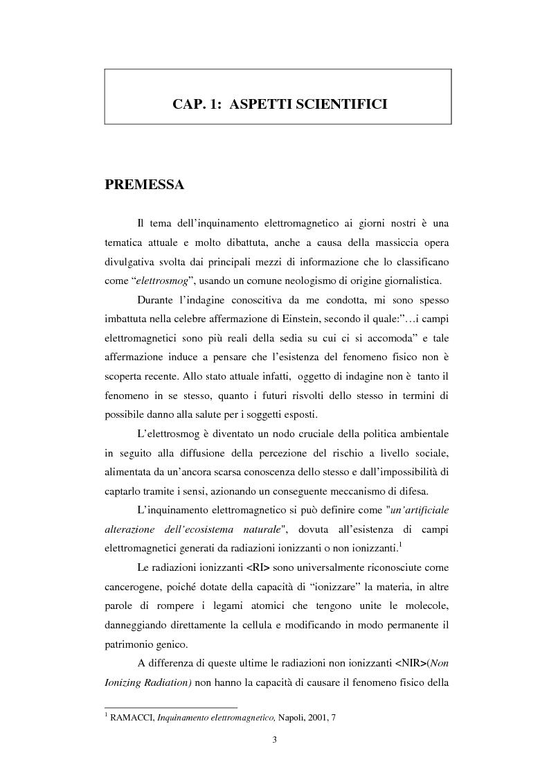 Anteprima della tesi: Inquinamento elettromagnetico da elettrodotti, Pagina 1