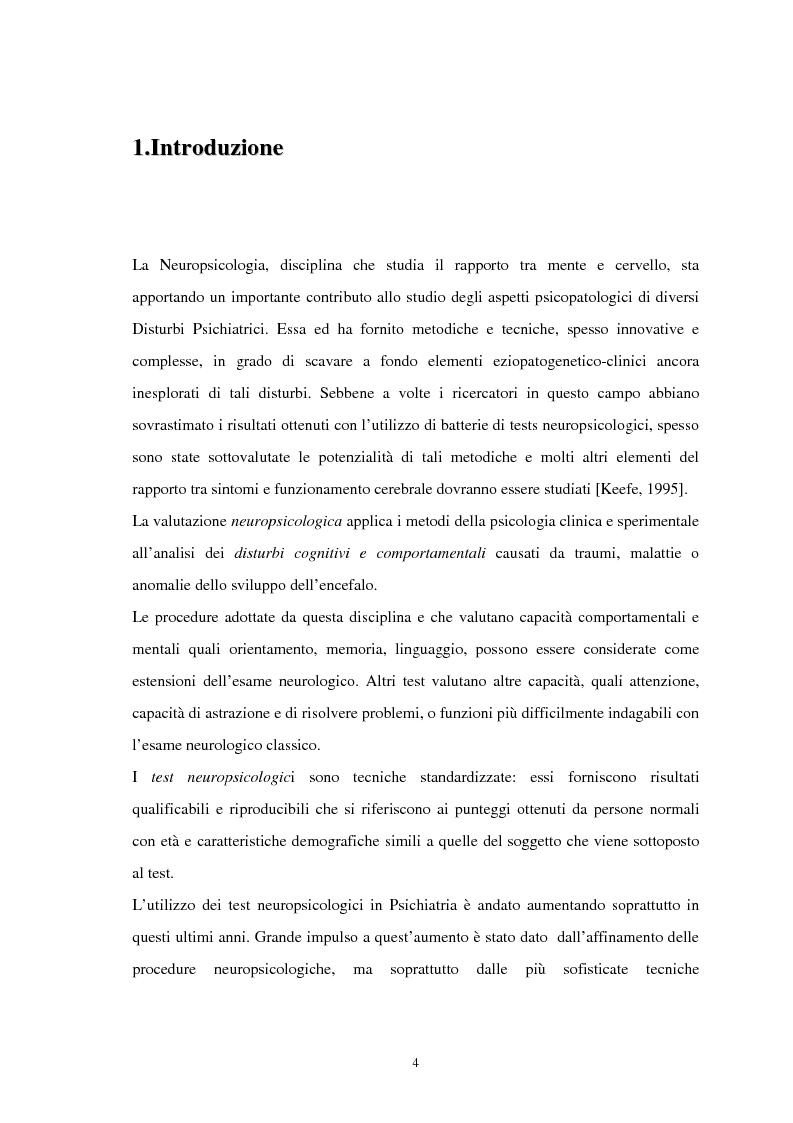 Anteprima della tesi: Aspetti neuropsicologici nei Disturbi della Condotta Alimentare (DCA): contributo personale, Pagina 1