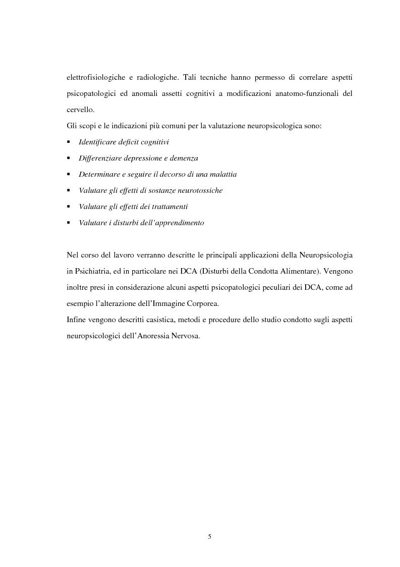 Anteprima della tesi: Aspetti neuropsicologici nei Disturbi della Condotta Alimentare (DCA): contributo personale, Pagina 2