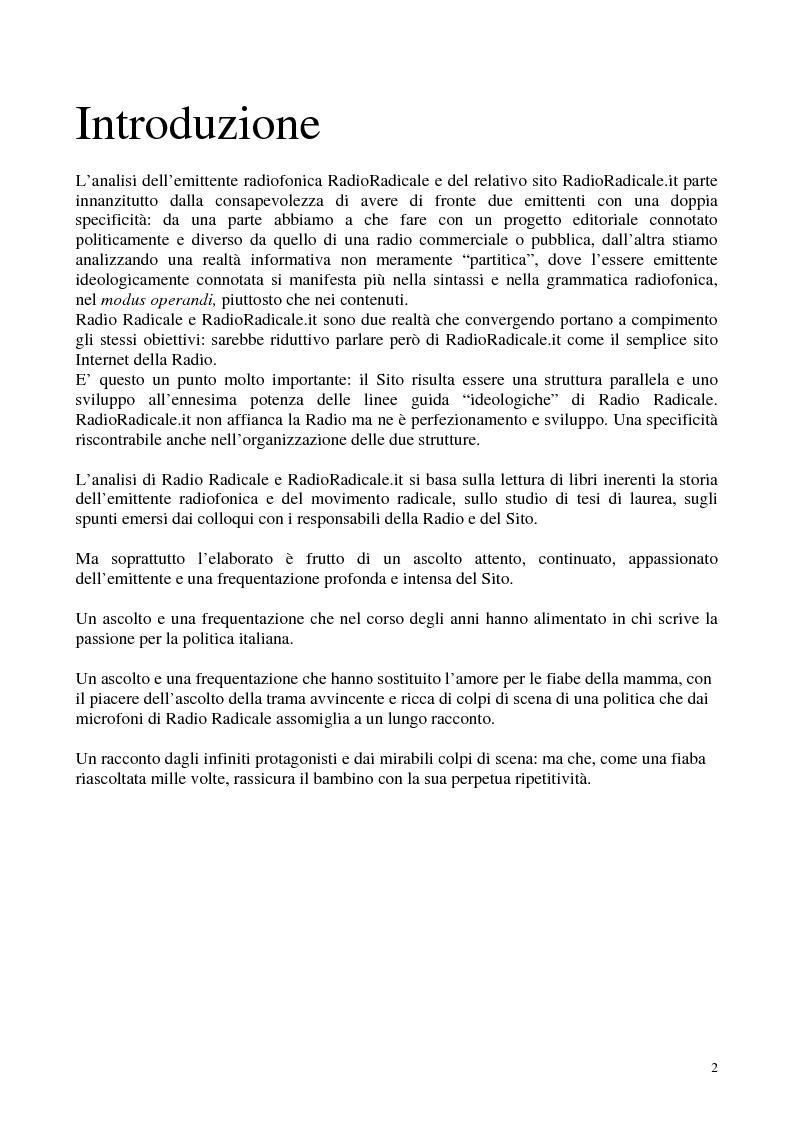 Anteprima della tesi: Radio Radicale e RadioRadicale.it: due strategie comunicative convergenti, Pagina 1
